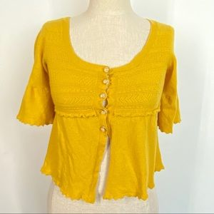 Knitted & Knotted Anthro Yellow Button Up Sweater
